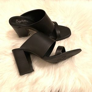 Women's Black Seychelles Heeled Sandals, Size 9